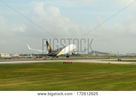 PHILADELPHIA - SEP. 29, 2015: UPS Airlines Boeing 767-34AF(ER) N349UP take off at Philadelphia International Airport, Philadelphia, Pennsylvania, USA.