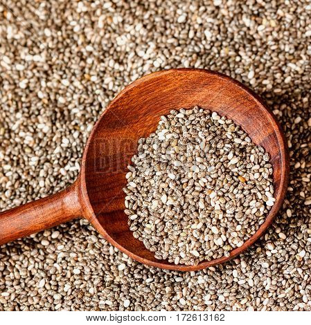 Close up Chia seeds in a wooden spoon. Superfood, healthy concept. For background, backdrop, substrate, composition use.