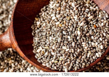 Wooden spoon and Chia seeds. Very close-up. Concept of Organic superfood, healthy concept. For background, backdrop, substrate, composition use. Top view.