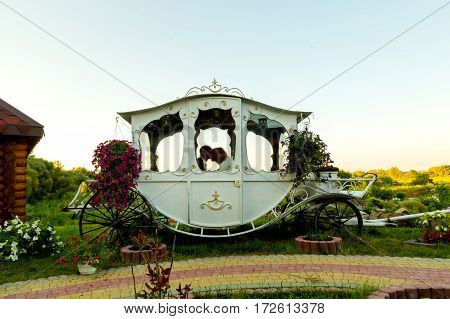 The bride and groom in a carriage