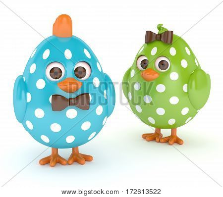 3D Render Of Easter Funny Chicks Over White