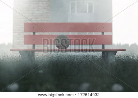3d rendering of abandoned red park bench with ball on it in the morning fog