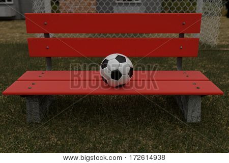 3d rendering of red park bench with ball on it at the field