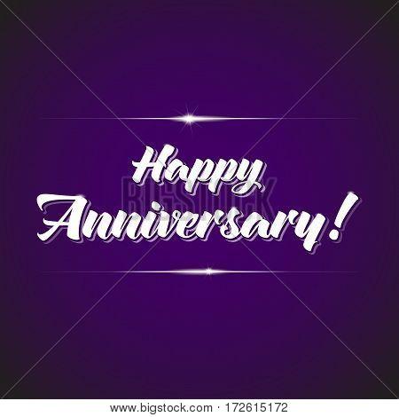 Anniversary celebration logotype. Jubilee calligrafic elements on violet background.