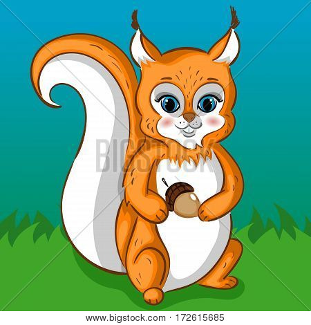 Squirrel Character with Acorn on the Green Grass, Smiling, Hand Drawn Vector Illustration
