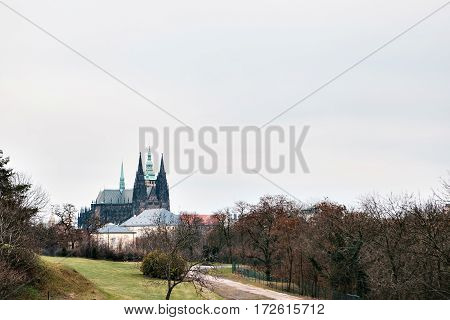 Prague, Czech Republic. A view of the Prague Castle in the Hradcany district.