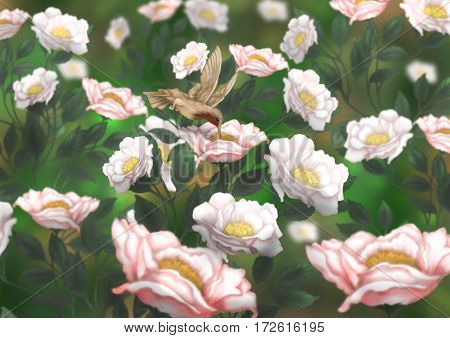 A little bird in the colors. Delicate flowers in the flowerbed. Vivid illustration.