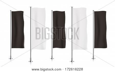 Five black and white vertical banner flags, standing in a row. Banner flag templates isolated on a white background. Vertical flags realistic mockup.