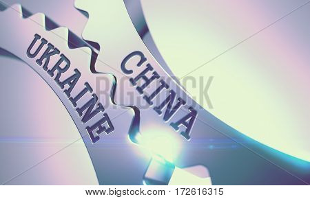 China Ukraine on Mechanism of Shiny Metal Cog Gears. Communication Concept in Industrial Design. China Ukraine Shiny Metal Gears - Communication Concept. with Glow Effect. 3D Illustration.