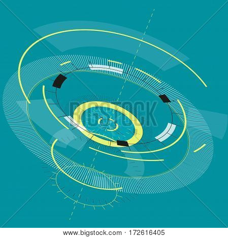 Abstract round high-tech mandala with circles. Space Time machine. Transparent fill up screen or monitor. Isometric central sight of wheels. Subtle mechanical bizarre clock gear on blue. Master vector