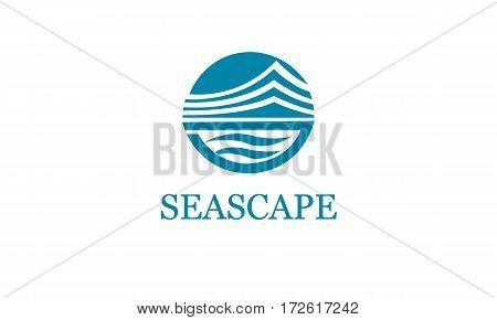 Logotype Marine. Vector logo template. Design element Seascape