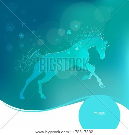 Time year - winter. Brightly glowing vector illustration of a galloping horse. Juicy blue aquamarine background. Design elements