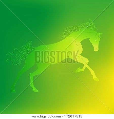 Brightly glowing vector illustration of a galloping horse. Juicy yellow green background