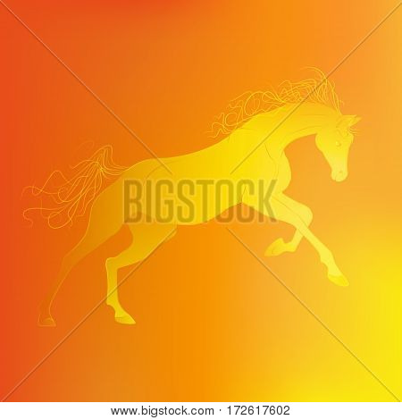 Brightly glowing vector illustration of a galloping horse. Juicy yellow orange background