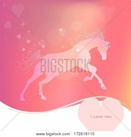delicate glowing vector illustration of a galloping horse. gentle pink yellow background. love symbol. I love you