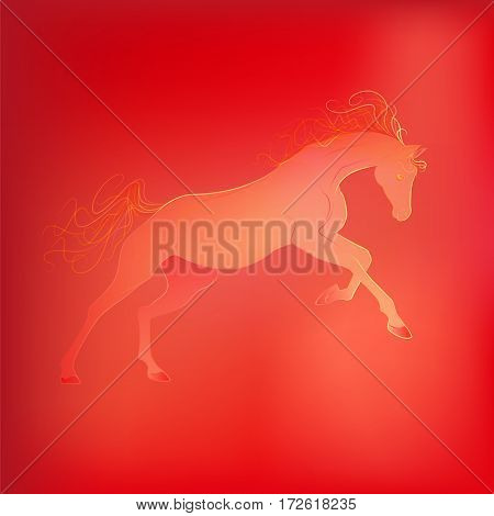Brightly glowing vector illustration of a galloping horse. Juicy yellow red background