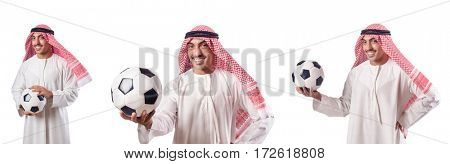 Arab businessman with football on white