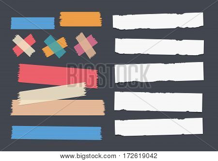 Bright and colorful sticky, adhesive masking tape and white notebook, copybook, note paper strips stuck on dark background.