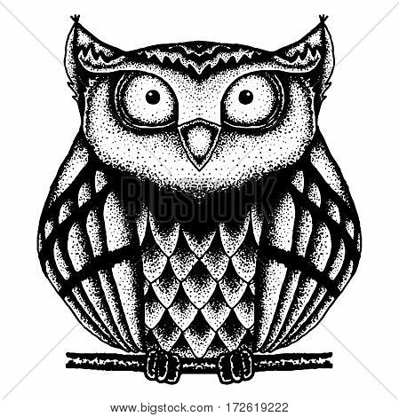black and white vector owl painted dots