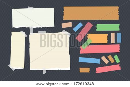 Bright and colorful sticky, adhesive masking tape strips and notebook, copybook, note paper stuck on dark squared background.