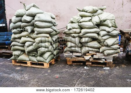 in construction, building bags stacked on pallets
