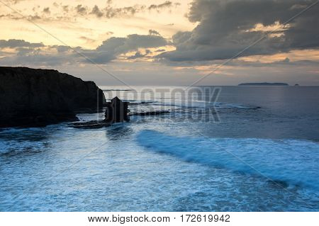 The coast of Atlantic ocean in Peniche on sunset Portugal