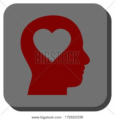 Love In Head interface toolbar icon. Vector pictograph style is a flat symbol inside a rounded square button dark red and black colors.