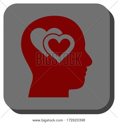 Love In Mind toolbar icon. Vector pictogram style is a flat symbol on a rounded square button dark red and black colors.