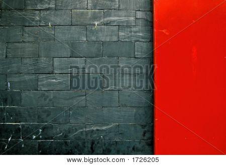 Gray Slate Red Door