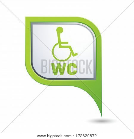 Green map pointer with restroom icon and wheelchair symbol