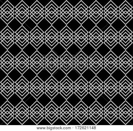 Rows of overlapping gray squares on black background. Elegant geometric seamless pattern. Seamless background for websites. Vector