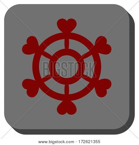 Lovely Boat Steering Wheel interface toolbar button. Vector pictogram style is a flat symbol inside a rounded square button dark red and black colors.