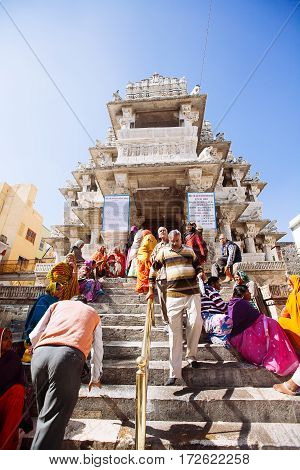 Udaipur, India - January 12: Unidentified People Near Jagdish Temple On January 12, 2017 In Udaipur,