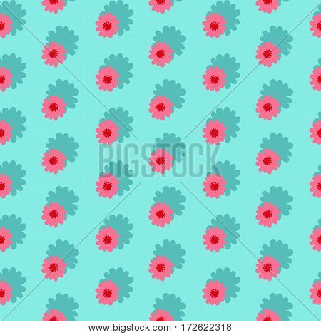 Pink daisies seamless pattern on a blue background.Daisy field. Flower chain.