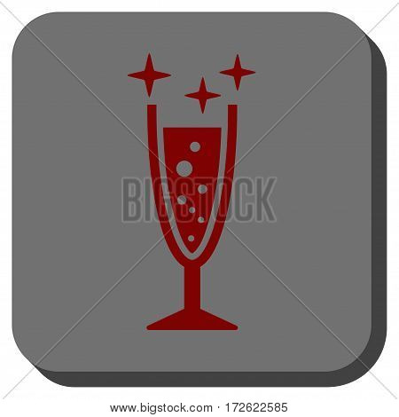 Sparkle Wine Glass toolbar icon. Vector pictogram style is a flat symbol inside a rounded square button dark red and black colors.