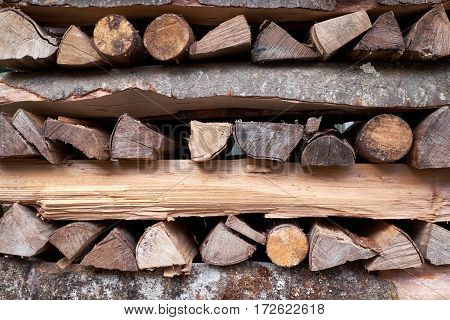 Abstract texture background of wood logs in stack
