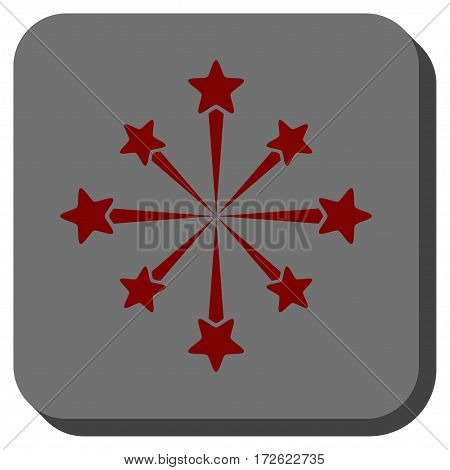 Star Burst Fireworks square button. Vector pictogram style is a flat symbol on a rounded square button dark red and black colors.