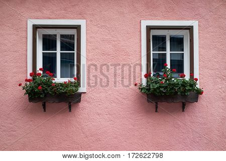 View of traditional Alps house with windows and flowers