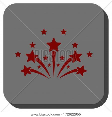 Star Fireworks rounded icon. Vector pictogram style is a flat symbol on a rounded square button dark red and black colors.