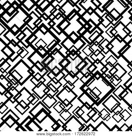 Seamless geometric background. Abstract repeating pattern with overlapping black squares on white. Vector