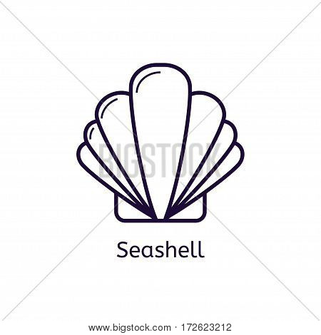 Vector seashell icon on a white background. Thin line icon for web site, visit card, poster, banner etc. Shell icon.