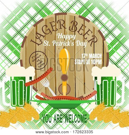 Vector poster for Happy St. Patrick's Day with barrel mug goblet of beer plate with sausages on the green line background.