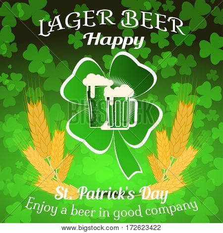 Vector Happy St. Patrick's Day poster on the gradient dark green background with leaf of clover cutout from paper and goblets of beer spikelets of wheat.
