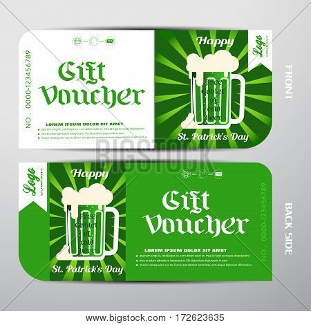 Vector blank of gift voucher for Happy St. Patrick's Day with green rays mugs of cold beer which is leaning against the wall.