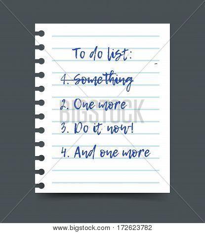 To do list on a notepad paper sheet, planning and organizing a schedule. Realistic vector illustration.