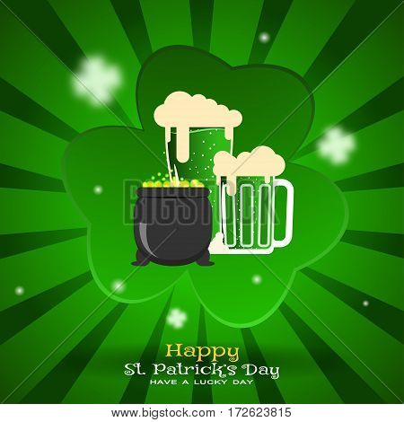 Vector Happy St. Patrick's Day poster on the gradient dark green background with rays leaf of clover cutout from paper cauldron with coins goblets of beer.