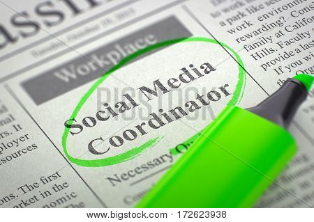 Social Media Coordinator. Newspaper with the Classified Advertisement of Hiring, Circled with a Green Highlighter. Blurred Image. Selective focus. Job Seeking Concept. 3D Illustration.