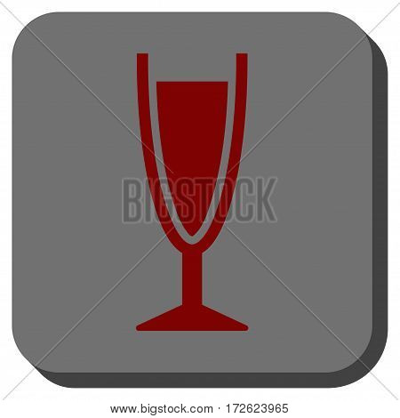 Wine Glass interface icon. Vector pictogram style is a flat symbol inside a rounded square button dark red and black colors.