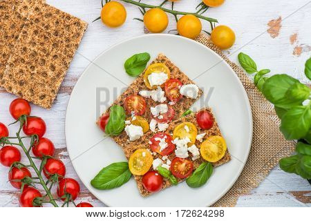 Healthy Snack From Wholegrain Rye Crispbread Crackers