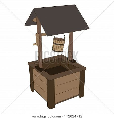 Vector wooden village well with a bucket isolated on white background.